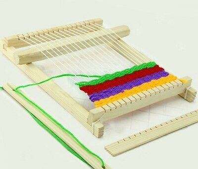 Traditional Wooden Weaving Toy Loom with Accessories Childrens Craft Box New