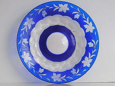 """Vintage Val St Lambert Cobalt Cased Cut To Clear Crystal 6 1/4"""" Plate (S)"""