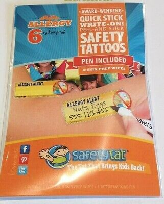 Safety Tat ID stick on Tattoos - Autism,absconders,allergies,children,disability