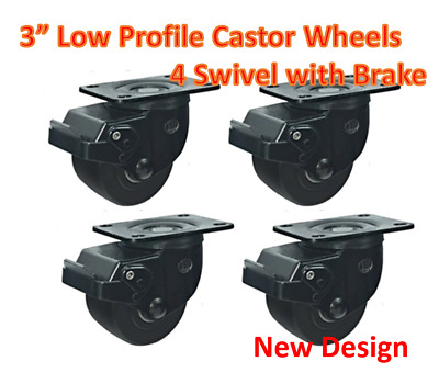 "3""Low Profile Castor Wheels,4 Swivel with Brake, 500kg load capacity per caster"