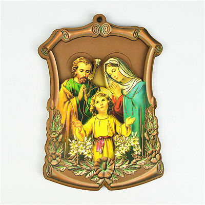 Wooden Catholic Religious Holy Family Saint Picture Wall Plaque