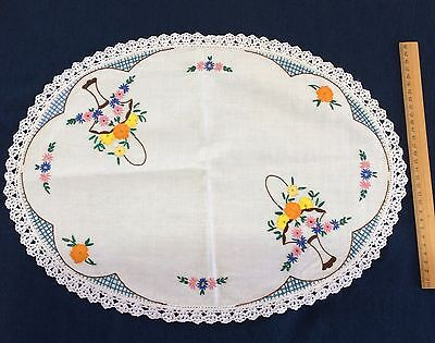 Vintage Linen Doily Table Centre Hand Embroidered Crochet Edging
