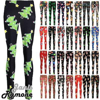 New Womens Christmas Xmas Santa Snowman Printed Stretchy Leggings Trouser Pants