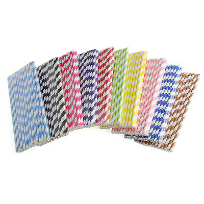 25 Colorful Striped Paper Drinking Straws Wedding Birthday Party Biodegradable