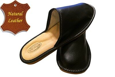 Men's Slippers SCUFF Natural LEATHER black colored SIZE US MEN 9.5 - 11.5 NEW