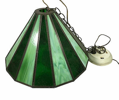 Vintage Tiffany Style Slag Stained Green Emerald Glass Hanging Chandelier Shade