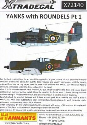 Xtradecal X72140 1/72 Yanks with Roundels Part 1 FAA Model Decals
