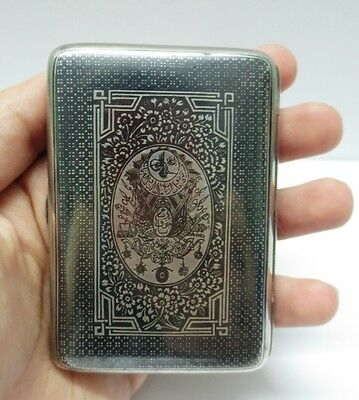 Original Antique Ottoman Turkish Silver Niello Cigarette Case Kulla Calligraphy