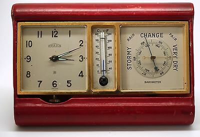 Angelus 8 Day Clock Barometer Thermometer Red Leather Folding Portfolio Set • £350.00
