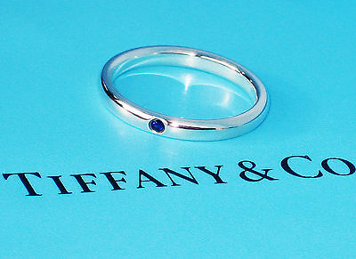 Tiffany & Co Elsa Peretti Sterling Silver Blue Sapphire Band Ring