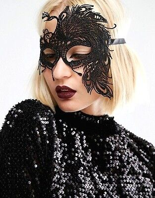 Sexy Peacock Girl Mask Black Lace Party Ball Masquerade Oz Seller FAST FREE Post
