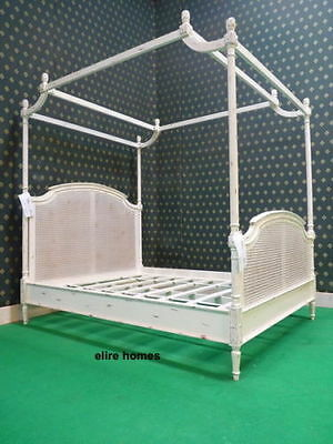 "UK Single ~ AU USA Twin 38""x75"" solid mahogany wood & rattan Four Poster bed"