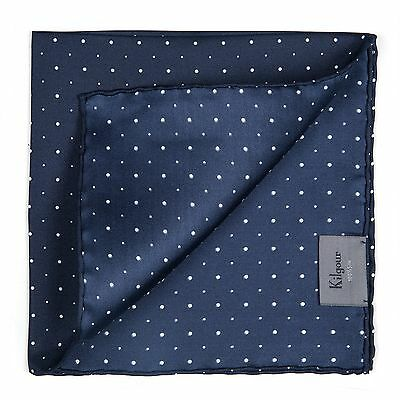 Kilgour Navy Blue Hand Rolled Polka Dot Silk Pocket Square Made In Italy RRP £55