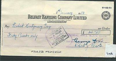 wbc. - CHEQUE - CH946 - USED -1972- BELFAST BANKING COMPANY, LONDONDERRY