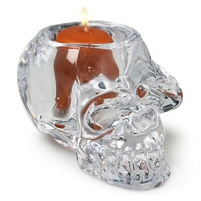 Large Skull Glass Candle Holder for Tealights - Comes with Free Soy Tealight
