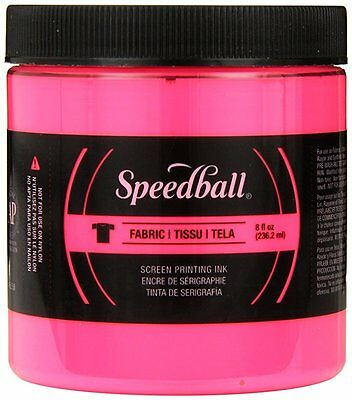 Speedball Art Products Fluorescent Fabric Screen Printing Ink, 8 oz, Hot Pink