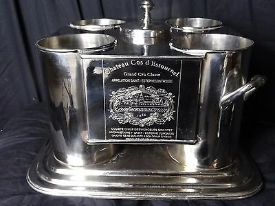 Handmade Large French Silver Plate Champagne Wine Cooler Bucket Holds 4 Bottles