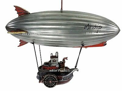 Steampunk Zeppelin Airship Blimp With Hanging Steam Paddle Boat Statue Sculpture