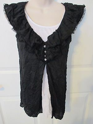 NWT - FRENCH LAUNDRY ladies Black/White top - Crinkle Look- sz S - MSRP $40.00