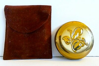 Metalfield Powder Compact Polished Goldtone Lily Flower Suede Case Mirror Puff