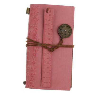 Pink PU Leather Cover Loose Clock Charm Blank Travel Notebook Journals Diary