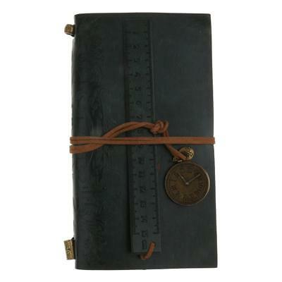 Green PU Leather Cover Clock Charm Blank Travel Notebook Journals Diary
