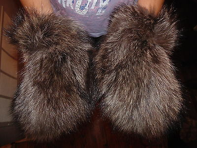 New Real Natural Racoon Fur Gloves Mittens