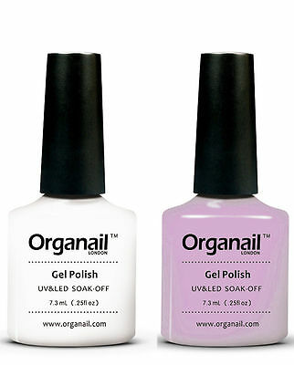 2X Vernis a ongle semi-permanent Blanc white + Rose transparent French Manucure.