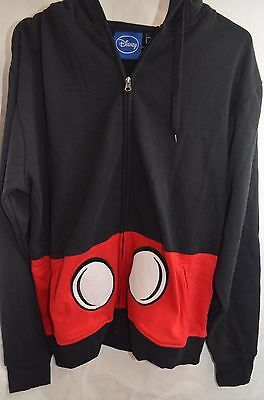 Disney Mickey Mouse Costume Full-Zip Jacket W/Drawstring Eared Hood Large NWOT