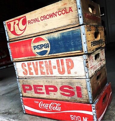 5 Vintage Wood Soda Pop Crates RC Coke Pepsi & 7up