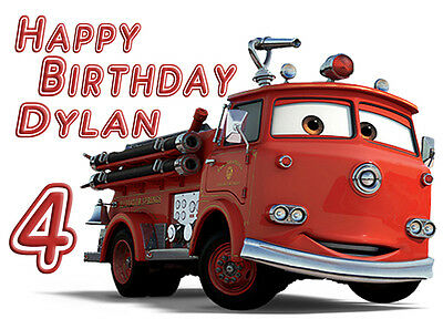 Red Firetruck Customised Edible REAL Icing Birthday Cake Topper multiple sizes
