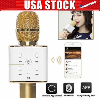 US STOCK New Tuxun Q7 Wireless Karaoke Bluetooth Microphone Speaker Portable