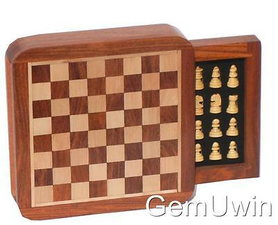 Magnetic Chess Set Travel Size TIDY Storage Drawer Camping Board Game  13.5cm