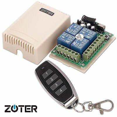 ZOTER DC 12V 4 Channels Wireless Remote Control Switch Garage Gate Door Opener