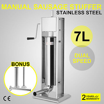 7L 20Lbs Commercial Stainless Steel Sausage Stuffer FOR Restaurant Kitchen
