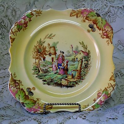 Lancaster & Sandland Yellow English Country Scene Cake Plate Made In England