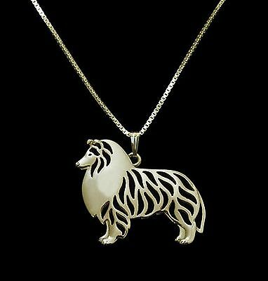Collie Rough Standing Dog Pendant Necklace -  Fashion Jewellery - Gold Plated