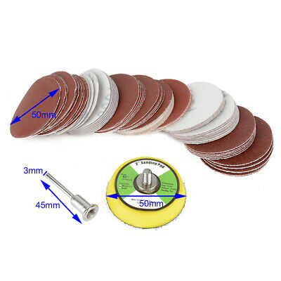 2'' 50mm Hook & Loop Sanding Sander Backing Pad Palm Shank + 60x Sandpaper Disc