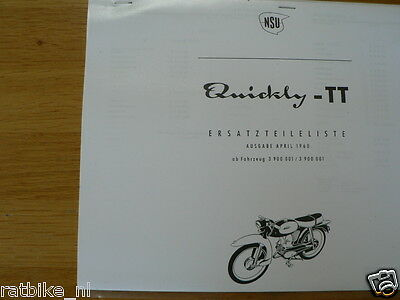 N0223 Nsu---Ersatzteile-Liste Quickly---Type Tt-Modelyear About--Part List