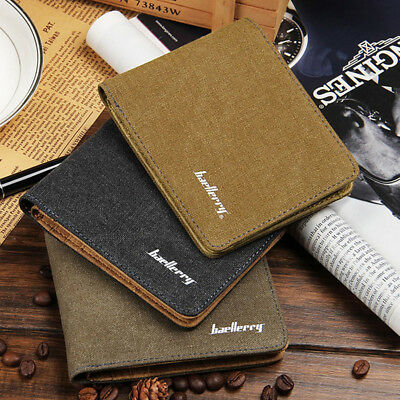 New  Canvas Leather Mens Wallet Coin Purse Vintage Retro Style Card Holder