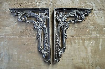 A pair of antique Victorian foliage brackets cast iron wall shelf bracket AL19