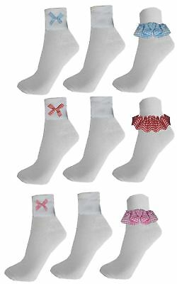 6 Pairs Gingham Lace Socks Frill White School Dance Uniform Ballet Girls Kids