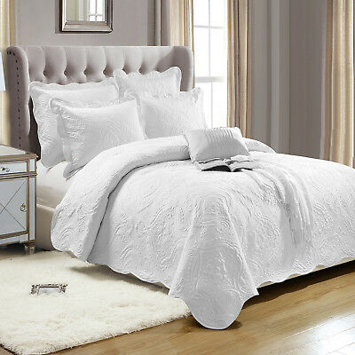 Cotton Embroidered Quilted Luxury Bedspread Throw With 2 Pillow Shams White