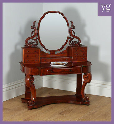 Antique English Figured Mahogany Victorian Duchess Mirror Dressing Makeup Table