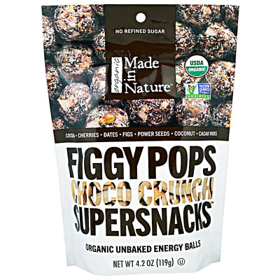 New Made In Nature Organic Figgy Pops Supersnacks Choco Crunchy Daily Food Care