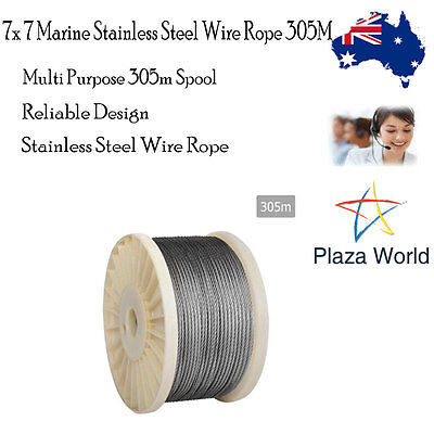 Wire Rope 305M 7x 7 Marine Grade Stainless Steel AISI 316 Anticorrosive Durable