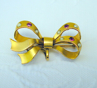 Antique French FIX Gold Filled Bow w/ Rubies & Seed Pearls Brooch Watch Hanger