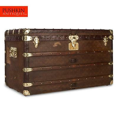 ANTIQUE 20thC LOUIS VUITTON MONOGRAM MALLE COURIER / STEAMER TRUNK c.1900