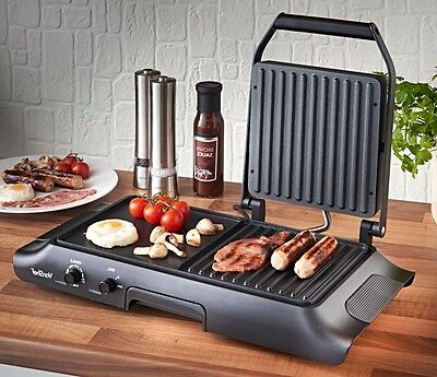 Electric Grill Griddle Grilling Plate Indoor Cooking Non-Stick Multi-Functional