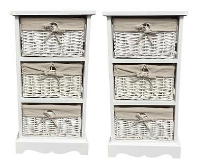 Pair of Assembled Shabby Chic White Bedside Units Tables Drawers Storage Basket